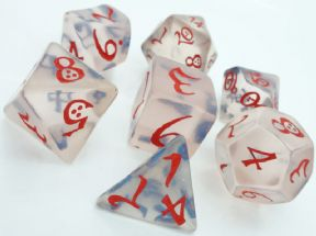 Transparent Blue & Red Classic RPG Dice Set